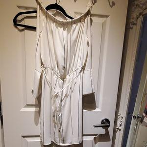 White with black strip satin Dress